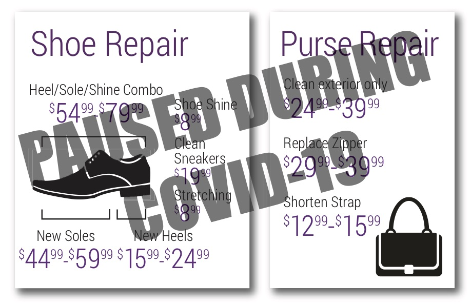 shoe and purse repair are paused during COVID-19